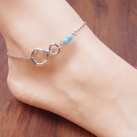 arrival showcase - 2015 New Arrival European And American Trade Fashion Simple Foot Showcase The Best of Luck Size Asymmetric Twist Beaded Anklet H162