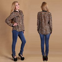 Wholesale Women Sexy Leopard long sleeved V Neck chiffon shirt Casual Blouse Tops Women s Clothing
