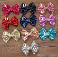 baby blue jewelry - Baby barrettes new Europe and cute girls children sequins hairpin large bow hair jewelry colors BY0000
