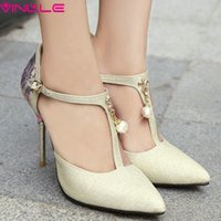 Cheap VINLLE 2015 Beautiful women shoes fashion T-strap pointed toe high heel ladies pumps nice party shoes size 34-40