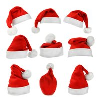 Wholesale Plush Christmas Christmas Hats Adult High grade Short Plush Santa Hat Christmas Hats Adult Christmas manufacturers Christmas