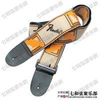 Wholesale Ecru background golden words embroidery CM length guitar suspender electric guitar strap bass brace
