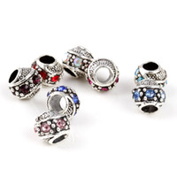 Wholesale Multi Crystal Antique Silver Plated x mm Spacer Charm Alloy Beads Fit Pandora European Bracelet