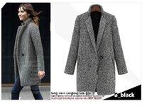 Precio de Solo botón abrigos negros-Otoño Invierno Houndstooth lana capa de la manera solo botón Negro y negro larga sección WoolBlends casaco feminino OXL102202