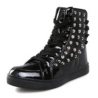 Lace-Up Men Summer shoes Male rivets high shoes trend of casual men's Korean version of the British non-mainstream breathable patent leather shoes