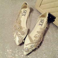 beautiful prom shoes - 2015 new beautiful wedding shoes pointed toe rhinestone bridal shoes summer sweet women single flat shoes luxury prom flats