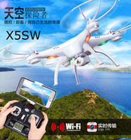 Wholesale Camera Drones X5SW SYMA FPV WIFI RC Drone Helicopter Headless Quadcopter with HD Camera G Axis Real Time RC Helicopter Toy Factory DHL