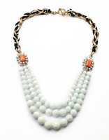bead nacklace - 2014 New Design Simple High End White Bead Chain Style Nacklace