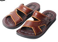 Wholesale 2015 New Cheapest Men s Beach sandals and Slippers Brown Black Pairs