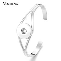 Wholesale VOCHENG NOOSA Metal Snap Button Cuff Bracelet Interchangeable Jewelry Ginger Snaps Jewelry Vb