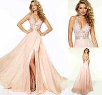 Wholesale 2015 Prom Dresses Lace Formal Evening Gowns Cheap A Line Sexy V Neck Sleeveless Backless Long Chiffon Bridesmaid Dresses Vestidos Do