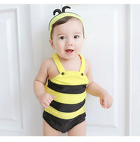 bee bathing suit - 2015 new boys summer swimsuits kid s beach cartoon Little bee swimwear bathing suit Baby boy s One Piece swimsuit