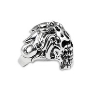 Wholesale Solid Sterling Silver Angry Skull Vintage Men US Size Ring High Quality