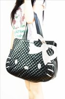 Wholesale 2 Colors Quality Pu Leather Cartoon Cute Hello Kitty Cat Bowknot Women Handbags Shoulder Shopping Casual Bag Travel Bags
