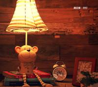Wholesale Cloth children s room cute cat pig monkey satisfy desk lamp lights creative cartoon lamps dimmable bedroom bedside lamp garden lighting
