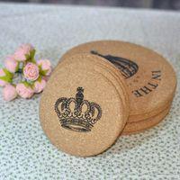 cork coasters - Retro minimalist dining table round wood cork insulation mat plate mat coaster