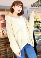 Cheap Knitwear Women Autumn Pullover Long Batwing Sleeve Sweater Hollow Embroidered Sweater Tops Beige Oversized B21 SV010274