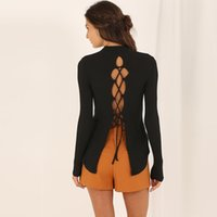 backing up computer - 2016 female Apparel Backless lace up knitted pullover Women tops sexy split back cross Autumn long sleeve t shirt Winter knitwear