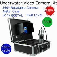 Precio de Camera underwater-100m Nuevo Sony 800TVL Actualiza Profesional giratoria de metal Carcasa estanca buscador de los pescados de vídeo Cámara KIT con función DVR, equipo de pesca