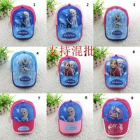 Wholesale dhl Kids New Summer Hats Anna and Elsa Snapback Girls Baseball Caps Children Hat