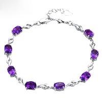 amethyst silver cuff bracelet - Fine Jewelry Sterling Silver Cubic Zircon Bracelet Purple Amethyst Luxury Austrian Crystal Women Bracelet Christmas Gift