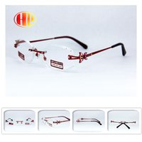 Wholesale 2016 new stainless steel power lens red rimless reading glasses diamond cut metal high quality reading glasses women