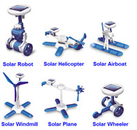 Wholesale SOLAR POWER KIT NEW In Educational DIY Robot helicopter boat classic outdoor electronic Toys Gift for children