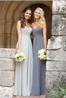 Wholesale 2015 Fashion Sweetheart Ruched Bodice A line Silver Grey Chiffon Long Bridesmaid Dresses Maid of Honor Dresses