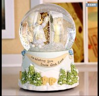 Wholesale Fine snow messenger girl crystal ball music box frozen music box creative children s birthday to send his girlfriend a Christmas gift B002