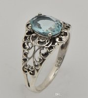 aquamarine rocks - 2015 luxury fashion women of archaize of aquamarine ring hollow out real sterling silver ring pop punk rock