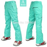 Wholesale 2015 womens mint green ski pants female red snowboarding pants winter sports trousers waterproof K top quality snow mountaineering pants