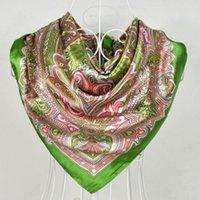 Wholesale New Arrival Brand Design Satin Big Square Scarf Printed Women Silk Scarf China Style Handkerchief cm