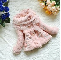 fur flower scarf - NEW Kids Girls faux fox fur coat pink fleece thick warm scarf collar jacket children baby Winter flowers outerwear Russian