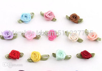 red ribbon rose - mini satin ribbon flower with green leaves cm small silk rose flowers for accessories
