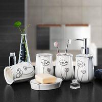 Wholesale New Design European Bone China Bathroom Set Ceramic Bathroom Wash Toothbrush Sets Five piece Set