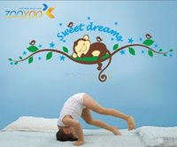 Wholesale Lovely Pattern A Monkey Sleeping on the Tree Vinyl Decal Removable Wall Sticker Decor