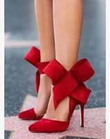 black heel bow - wedding shoe Women sexy high heeled shoes ultralarge hot selling webster bow pointed toe sandals women s sheepskin