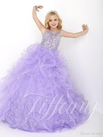 Wholesale New Cheap Little Girls Pageant Dresses Lilac Organza Tiered Ruffle Crystal Beads Long Kids Flower Girls Dress Size Party Birthday Gowns
