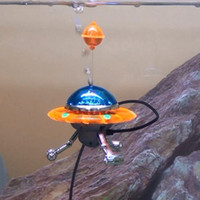 Wholesale Fish tank limorium decoration pneumatic oxygen pumpflying saucer fish tank pneumatic action ornament series Take oxygen tube UFO