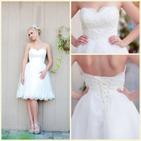 Wholesale Sensuous Wedding Dress For Pageant Women A Line Sweetheart Lace Up Knee Length Bridal Gowns Sleeveless Lace Wedding Dresses Plus Size