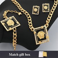 Bracelet,Earrings & Necklace lion head necklace - New Items Vogue Necklace Lion K Chunky Gold Plated Rhinestone Costume Jewelry Sets Lion Head Jewellery For Women MGC N1205