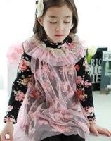 Ragazze stampati Collo manica lunga T Shirt coreano Abbigliamento per bambini Bambini in pizzo copertura Tulle magliette t-shirt per bambini