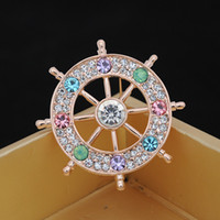 anchor decorations - 2015 Fashion Helm Brooches Rhinestone men and women Accessories Anchor christmas pins mixed Decoration New Arrival Alloy Corsage