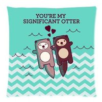 Wholesale 2015 New Gifts Sea otters holding hands Pillowcase Cushion Cover for Sofa CM