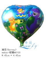 barney balloons - Hot sell a inch Barney cartoon helium balloon party decoration balloon