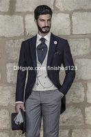 best neck ties - 2015 Morning Style One Button Navy Blue Groom Tuxedos Peak Lapel Groomsmen Best Man Mens Wedding Suits Jacket Pants Vest Tie G955