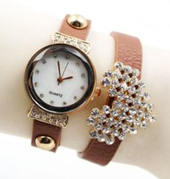 Wholesale Fashion women leather love heart design diamond stone crystal bracelet watches ladies leisure quartz dress wrist watches