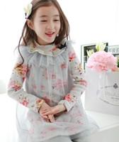 Ragazze stampati Collo manica lunga T Shirt coreano Abbigliamento per bambini Bambini in pizzo copertura Tulle bambini T-shirt tshirt boys