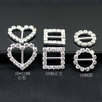 Wholesale 200pcs mm Round Rhinestone Crystal Buckles Brooches mm Bar Invitation Ribbon Chair Covers Slider Sashes Bows Buckles Wedding Supplies