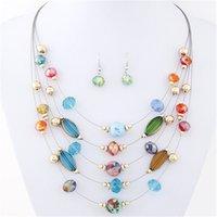 al por mayor multilayer necklace earrings-Venta al por mayor-Collares y aretes Joyería de moda Joker Bohemian Cristal Multilayer Collar de joyas de colores